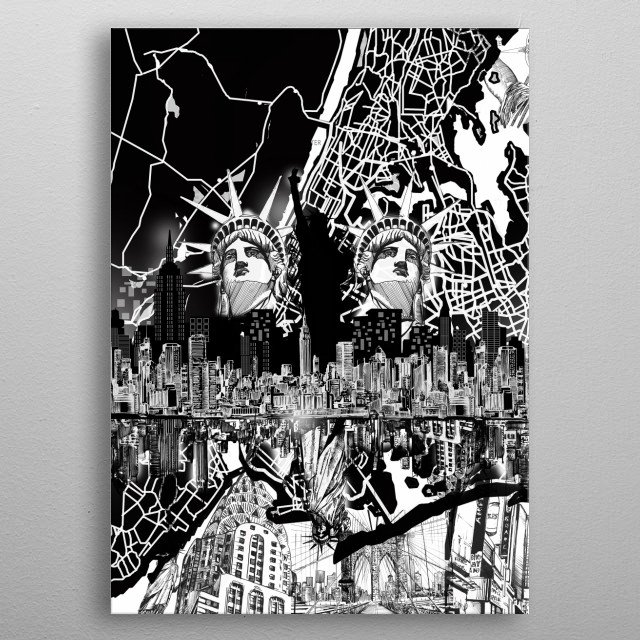 New york skyline inspired by decorative,black and white,pop art design metal poster