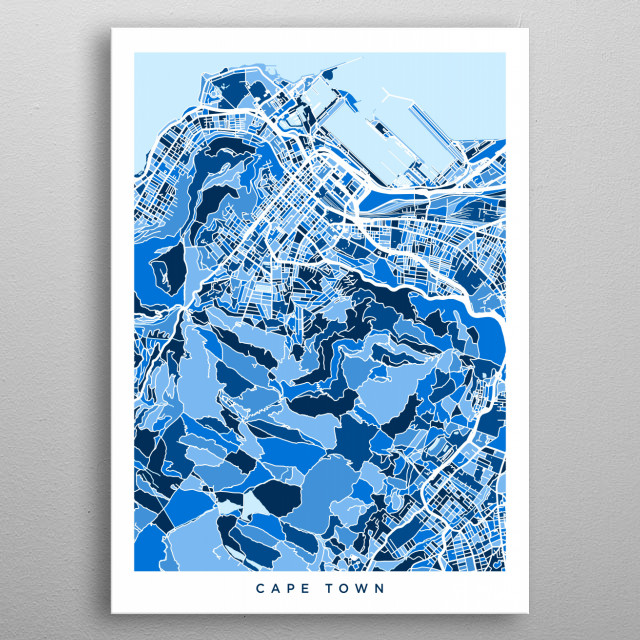 Cape Town South Africa Map By Michael Tompsett Metal Posters
