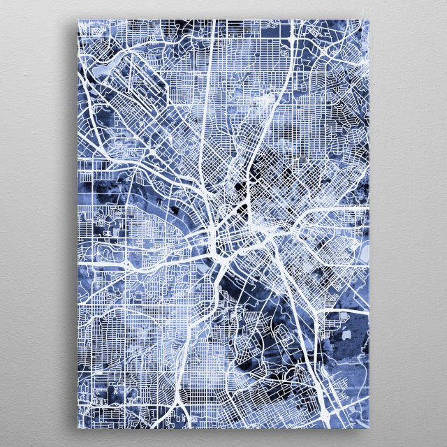Watercolor street map of Dallas, Texas, United States metal poster