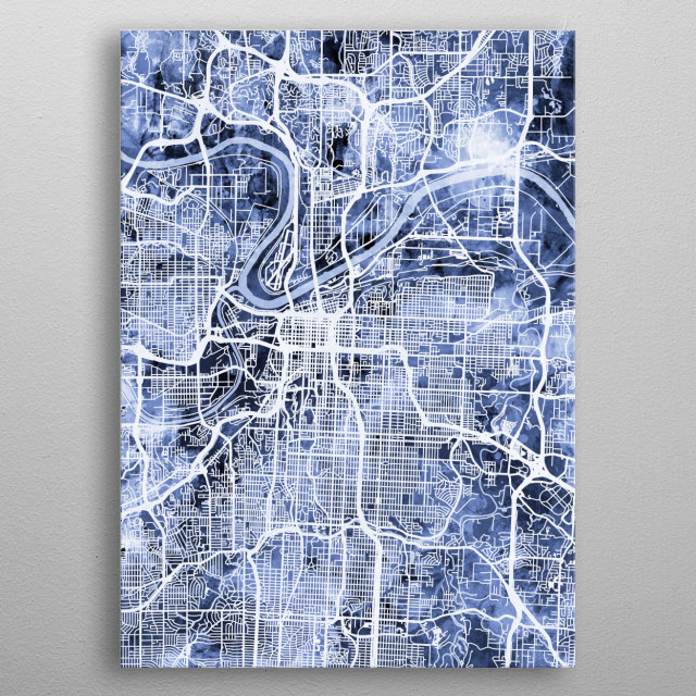 Watercolor street map of Kansas City, Missouri, United States metal poster