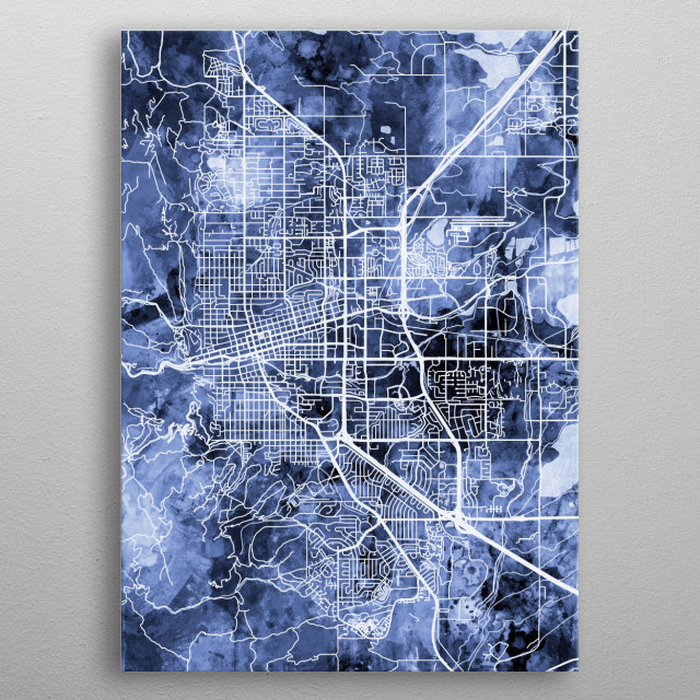 Watercolor street map of Boulder, Colorado, United States metal poster