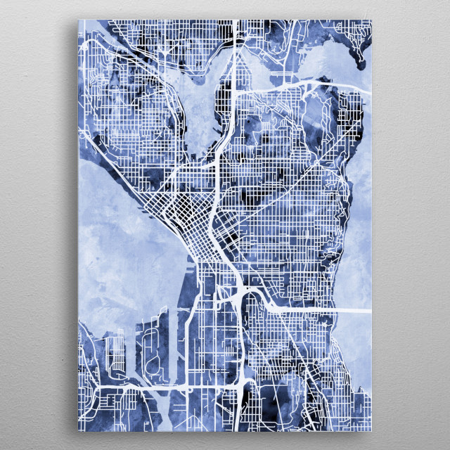 Watercolor street map of Seattle, Washington, United States metal poster