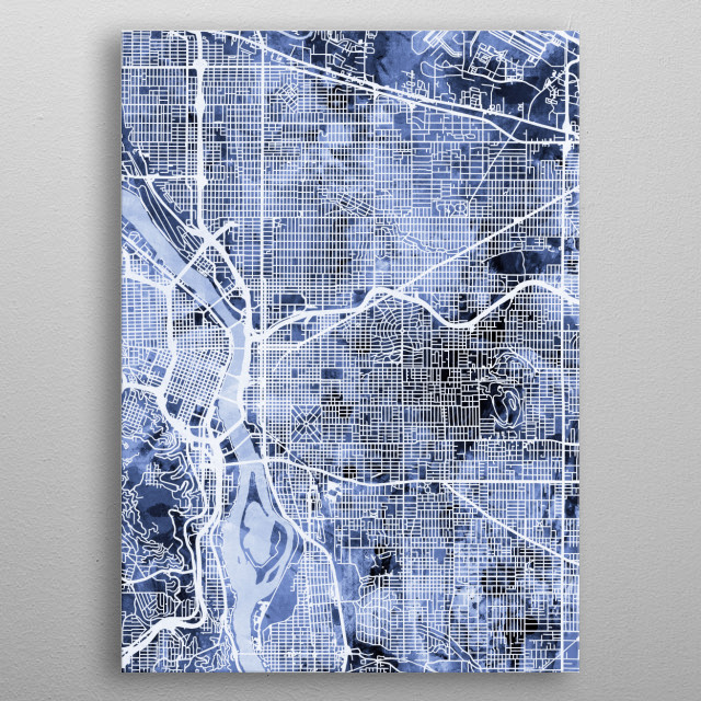 Watercolor street map of Portland, Oregon, United States metal poster