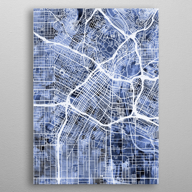 A watercolor street map of Los Angeles, California, United States metal poster