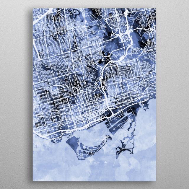 Watercolor street map of Toronto, Ontario, Canada metal poster
