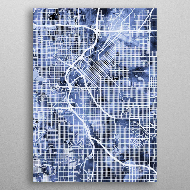 Watercolor street map of Denver, Colorado, United States metal poster