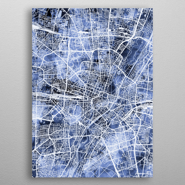 Watercolor street map of Munich, Germany metal poster