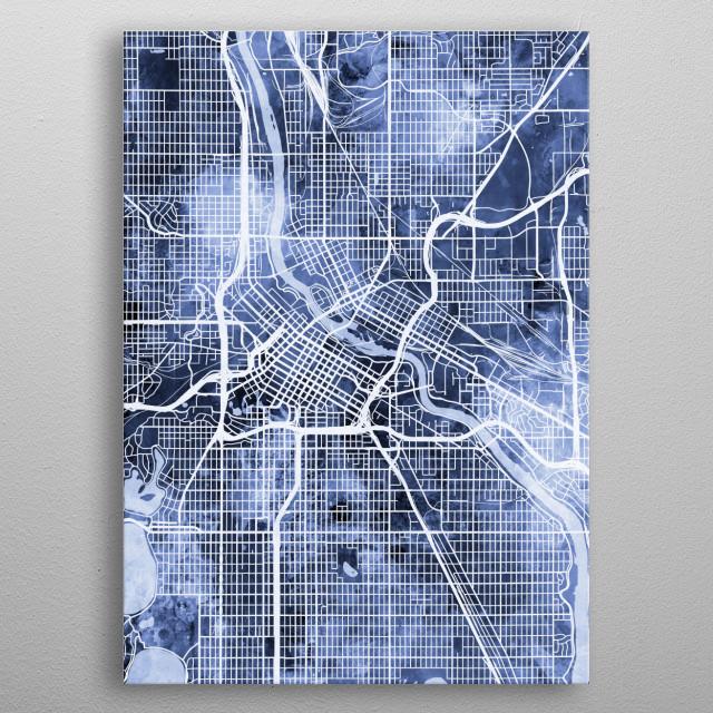 Watercolor street map of Minneapolis, Minnesota, United States metal poster