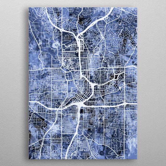Watercolor street map of Atlanta, Georgia, United States metal poster
