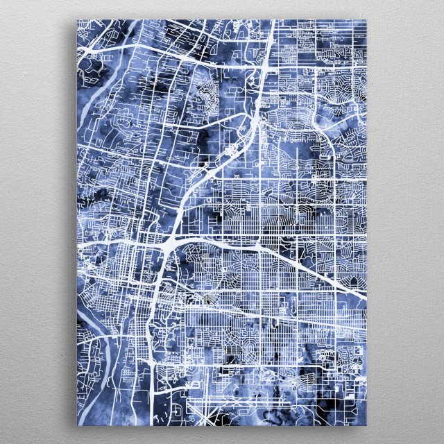 Watercolor street map of Albuquerque, New Mexico, United States metal poster