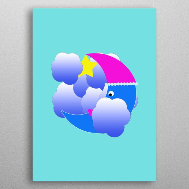 Moon, star and clouds are friends metal poster