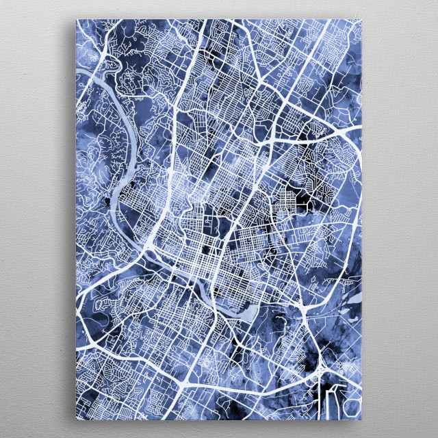 Watercolor street map of Austin, Texas, United States metal poster