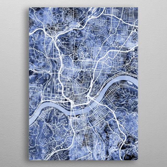 Watercolor street map of Cincinnati, Ohio, United States metal poster