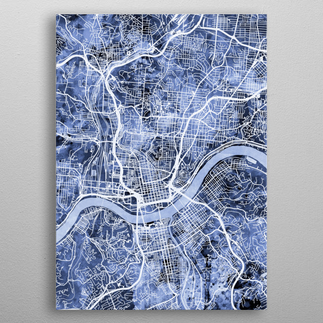 Watercolor street map of Cincinnati, Ohio, United States metal poster