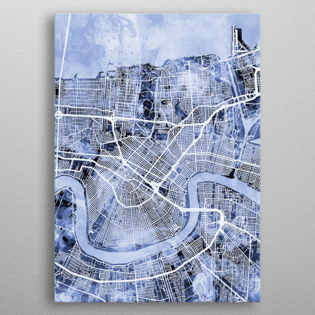 Watercolor street map of New Orleans, Louisiana, United States metal poster