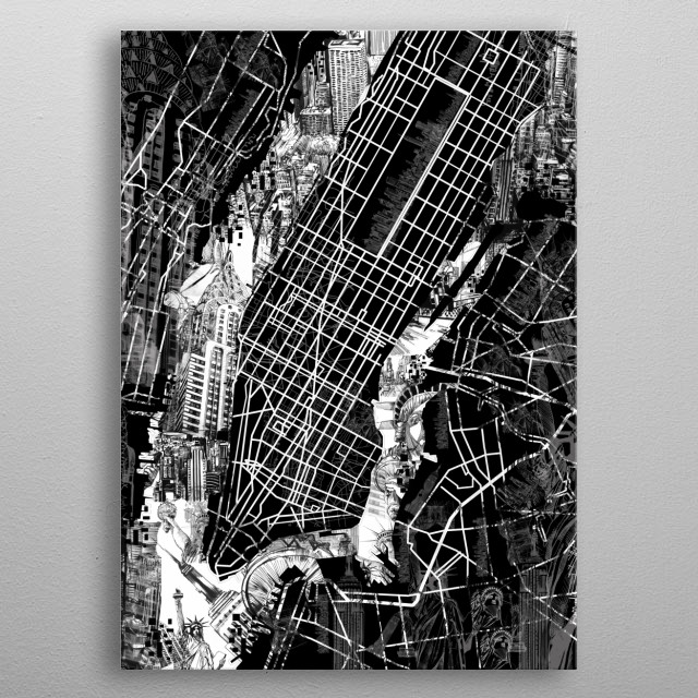 New york map inspired by decorative,black and white,modern,pop art design metal poster