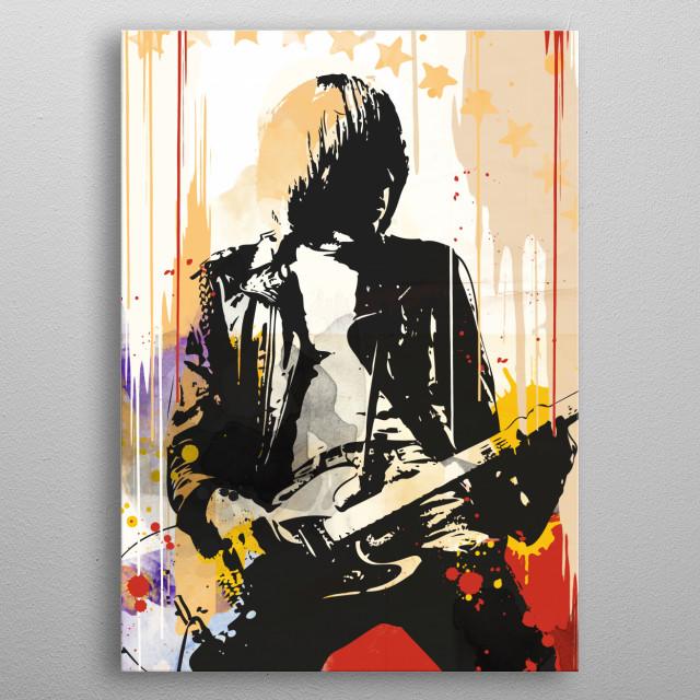 Johnny Ramone street art style. metal poster