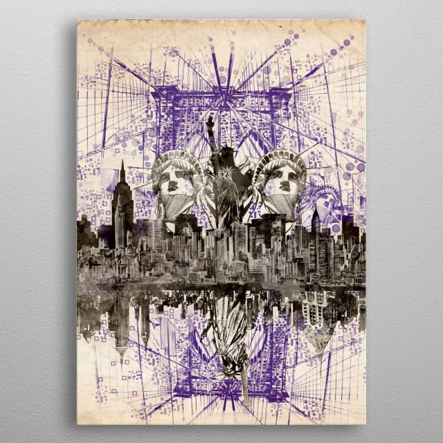 New york skyline inspired by decorative,vintage,modern,art design metal poster