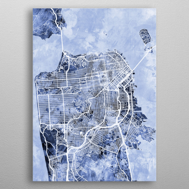 A street map of San Francisco, California, United States metal poster