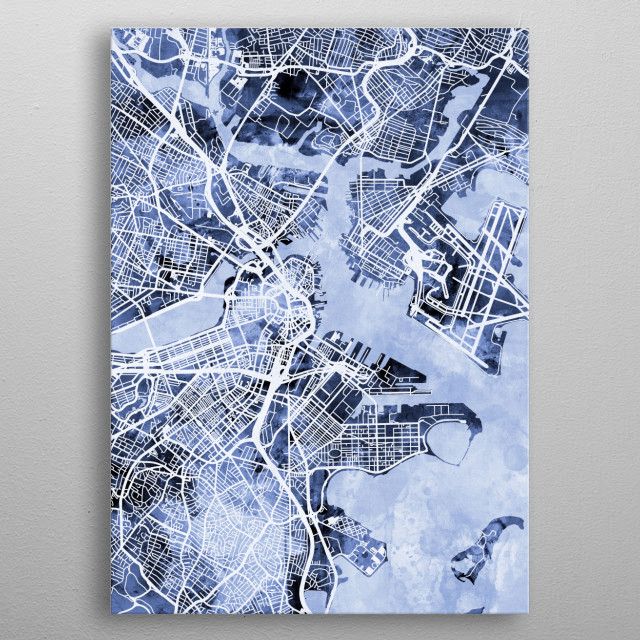 Watercolor street map of Boston, Massachusetts, United States metal poster