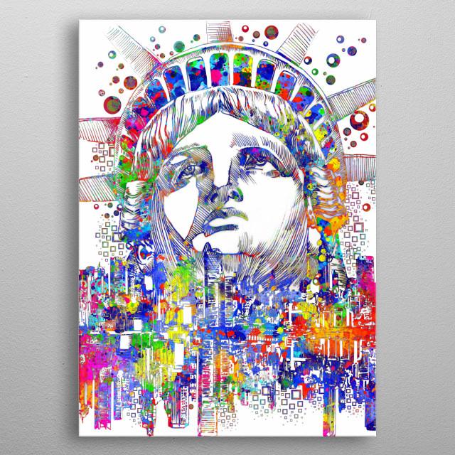 New york skyline inspired by decorative,pop art stature of liberty,pop art design metal poster