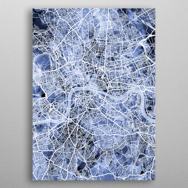 A watercolor street map of London, England metal poster