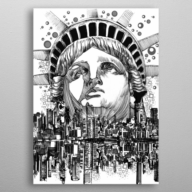 New york skyline inspired by decorative,black and white,statute of liberty,pop art design metal poster
