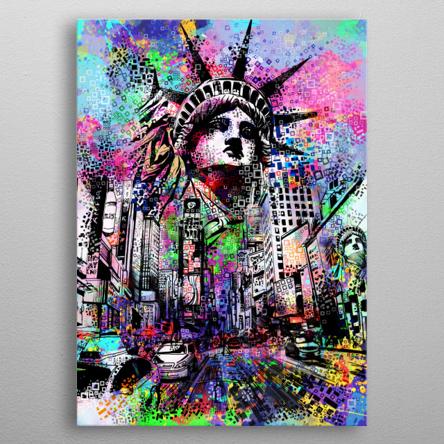 New york street inspired by decorative,colorful,modern,pop art design metal poster