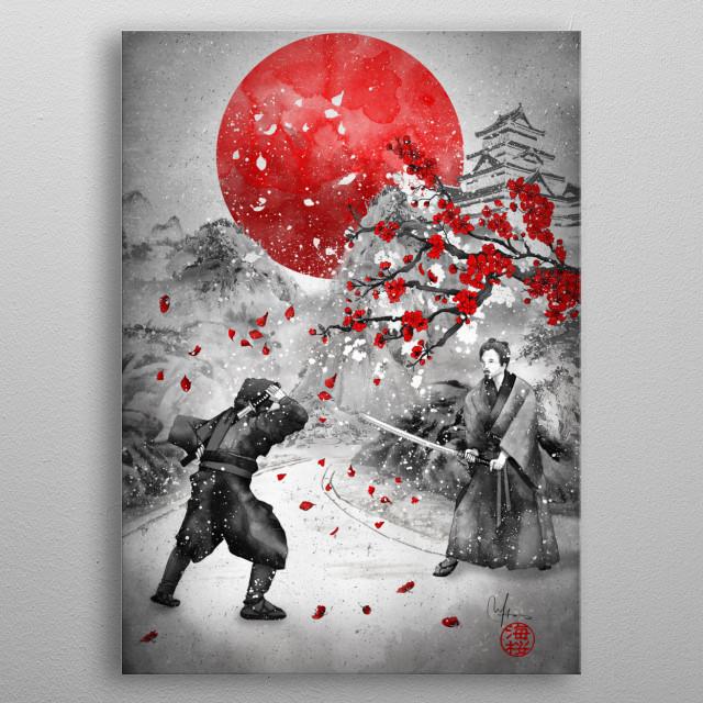 Samurai Vs Ninja metal poster