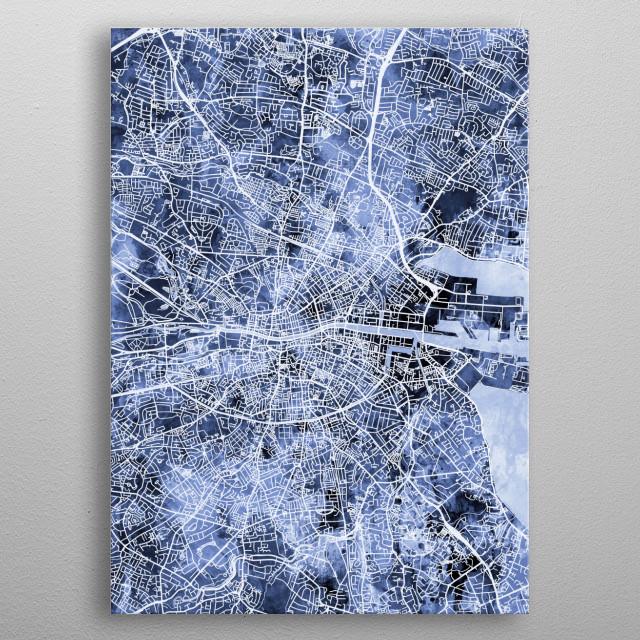 Street map of City of Dublin, Ireland metal poster