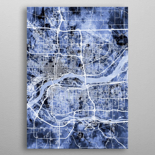 Watercolor street map of Quad Cities, Illinois and Iowa, United States metal poster