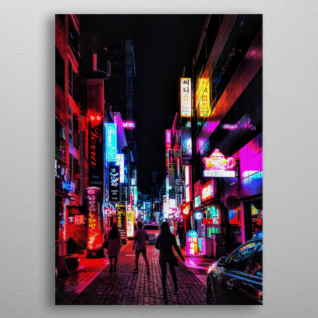 The vibrant streets of Busan, South Korea; with the silhouette of young people.  metal poster
