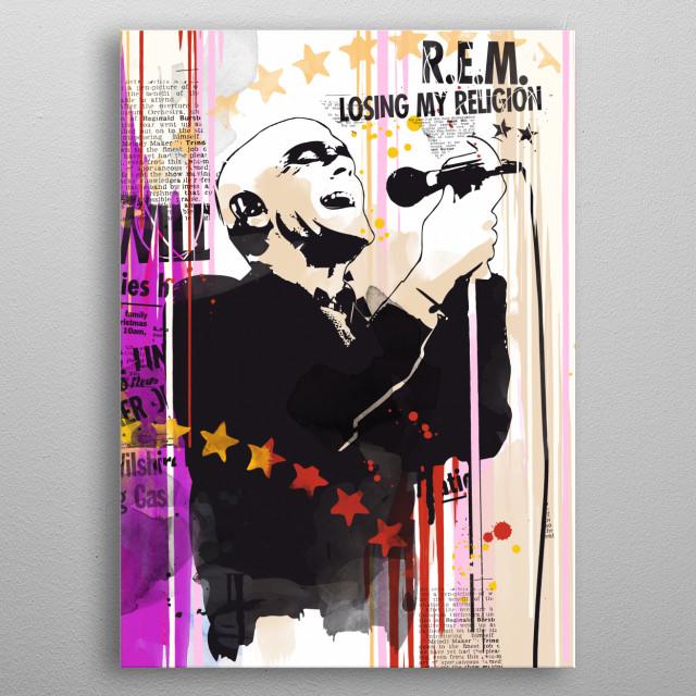 Michael Stipe pop art style print. metal poster