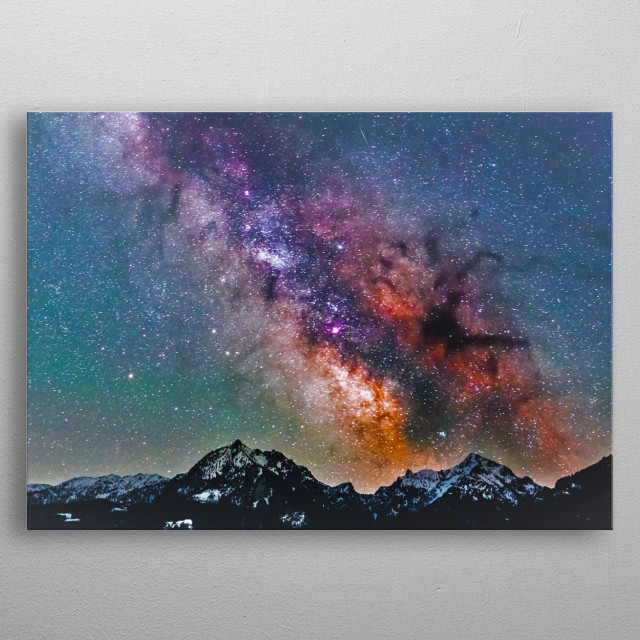An arm of the Milky Way Galaxy stretching over a mountain range.  metal poster