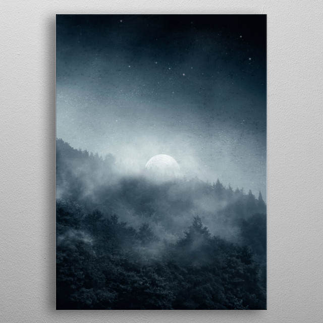 Misty forest at night with the moon illuminating trees and fog metal poster
