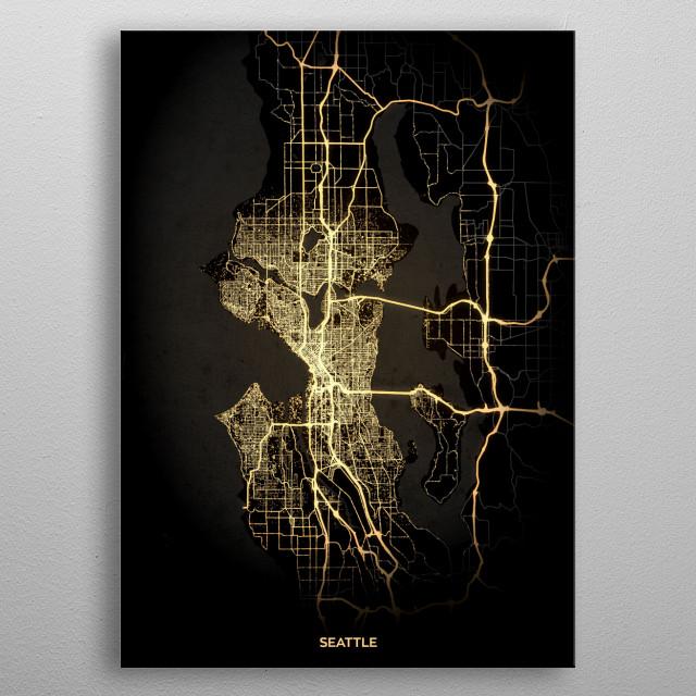 Seattle, USA metal poster