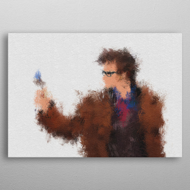 Tenth Doctor (David Tennant) Portrait painting in abstract and minimalist style. metal poster