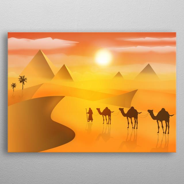 spanish caravan in sahara desert pyramids and palms with beautiful golden sand  metal poster