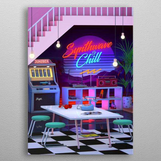 Retro Design That inspired by 80s / 90s Aesthetic Nostalgia and synthwave music scene metal poster