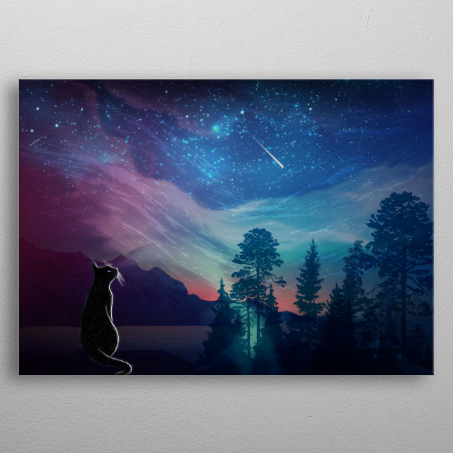 make a wish with fallen star, cat is gazing into the sky, beautiful relaxation and calming atmosphere metal poster