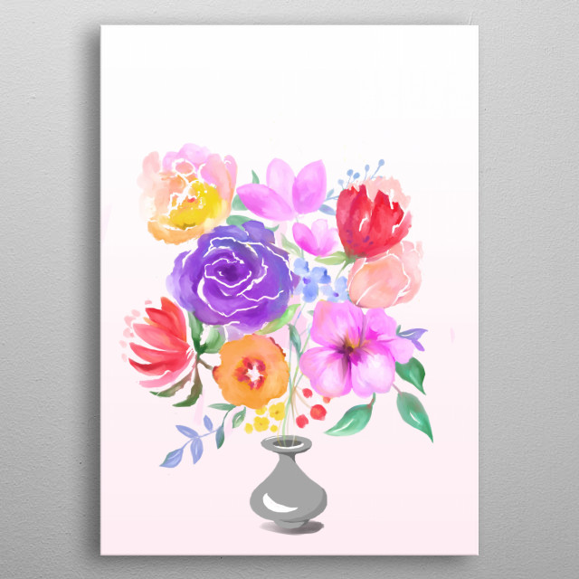 A floral arrangement featuring beautiful and elegant flowers in a vase. Giving flowers to someone makes them feel special and appreciated. metal poster