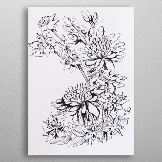 original ink drawing metal poster