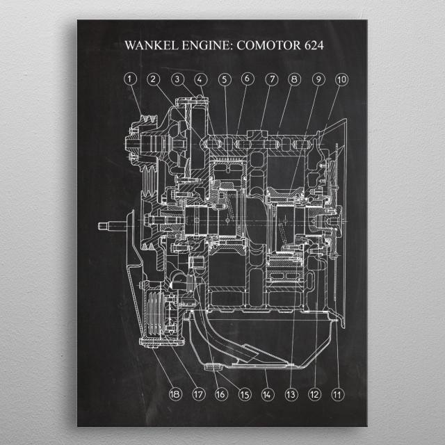 Wankel engine : Comotor 624 (for Citroen Birotor) metal poster