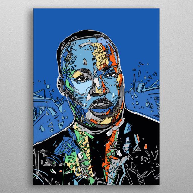 Portrait of Martin Luther King,digital drawing illustration   metal poster