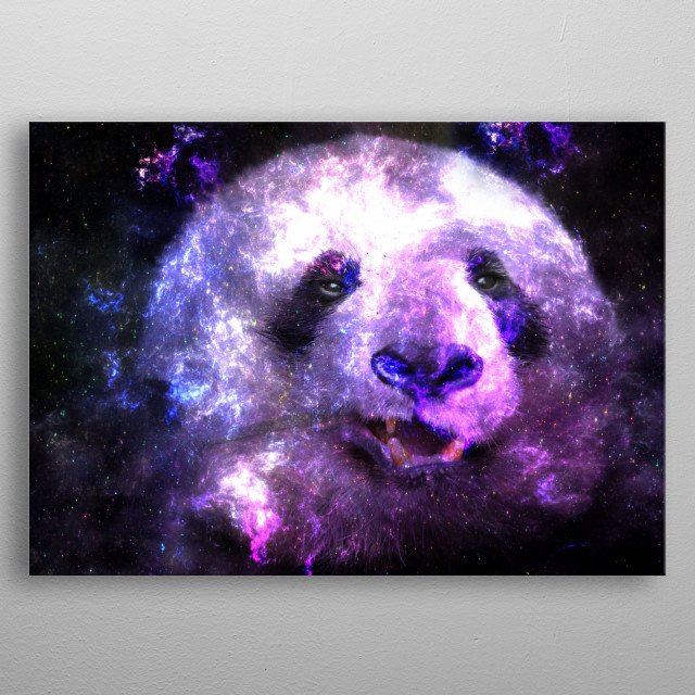 Galaxy Panda Design Manipulation with nebula pink colors. metal poster