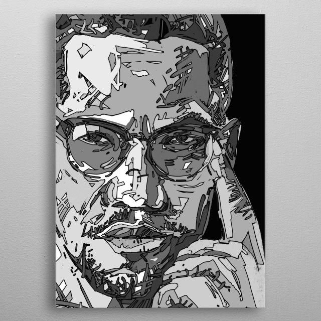 Malcolm x black and white portrait metal poster