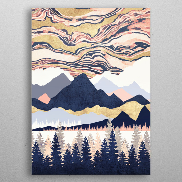 Abstract landscape of a winter's sky with pink, blue, gold and trees metal poster