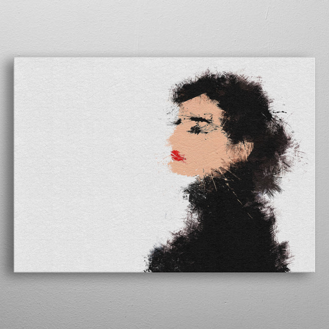 Audrey Hepburn Portrait painting in abstract and minimalist style. metal poster