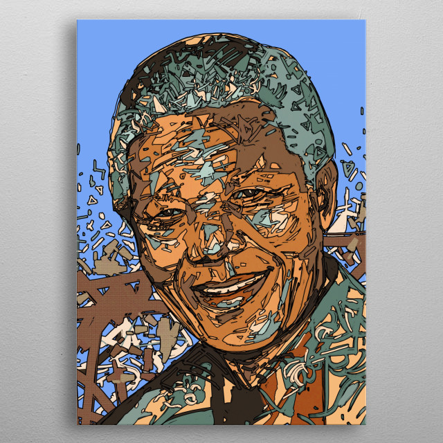 Nelson Mandela portrait illustration metal poster