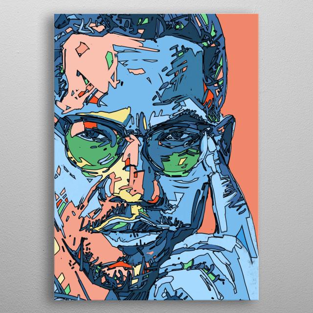 Malcolm x portrait colorful illustration  metal poster